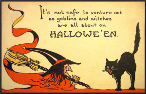 Halloween greeting post cards - cool, stylish - Witch with broom and a ...