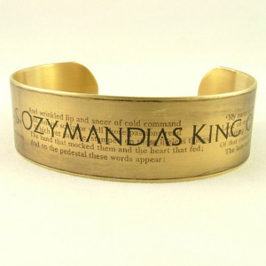 Ozymandias Sonnet By Percy Bysshe Shelley Ramesses II Brass Cuff