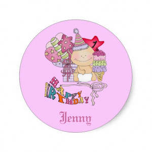 zazzle.comWonky Happy Birthday Girl 1 Year Old Sticker from Zazzle