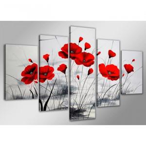 TABLEAU - TOILE Tableau moderne imprimé 160 x 80 cm COQUELICOT
