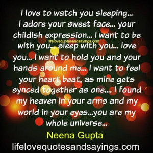 Love To Watch You Sleeping.. - Love Quotes And SayingsLove Quotes ...
