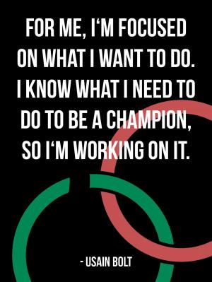 For me, I'm focused on what I want to do. I know what I need to do ...