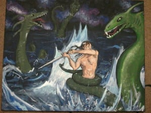 Beowulf fighting with Grendel's mother.Beowulf Fight, Beowulf Projects