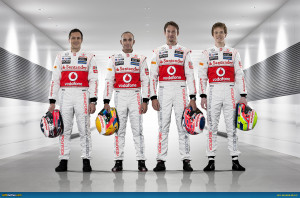 to R: Gary Paffet, Lewis Hamilton, Jenson Button, Oliver Turvey