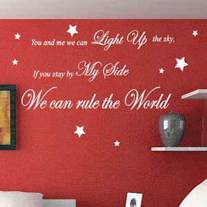 Details about Take That Rule The World Song Lyrics Wall Quote Stickers ...