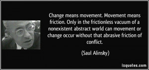 movement. Movement means friction. Only in the frictionless vacuum ...