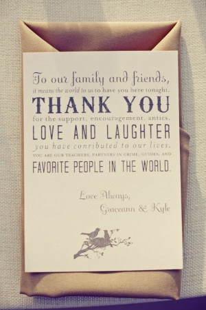Source To our family and friends, it means the world to us to have you ...