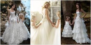 matching rosettes wedding and flower girl dresses