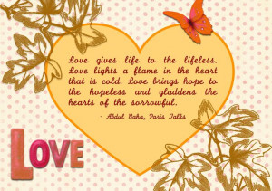 Quote on love - Bahai Writtings