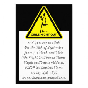 Funny Hazard Sign Girls Night Out - Black & Yellow Invite