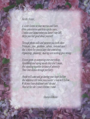 sister birthday poem