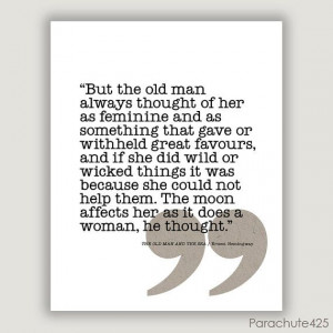 Hemingway QUOTE PRINTOld Man and Sea typographic door Parachute425, $ ...