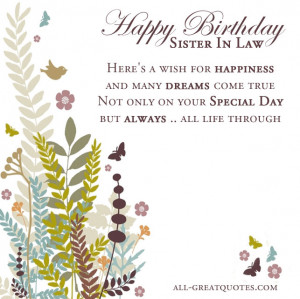 Free Birthday Cards For Sister In Law – Happy Birthday Sister In Law