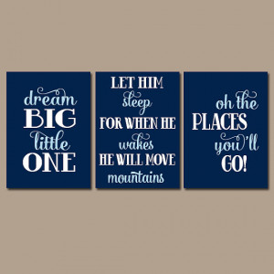 Boy Nursery Quote BOY Nursery Wall Art Wall Art Dream Big Let Him ...