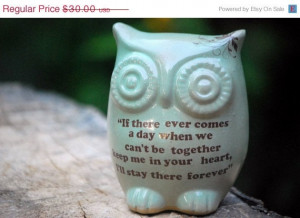 Owl Winnie the pooh quote on mint friendship by claylicious, $32.00