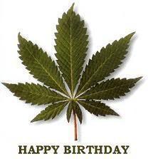Happy Birthday Marijuana Leaf Image