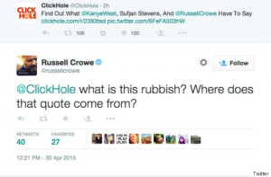 Russell Crowe Got Angry About A ClickHole Article That He Apparently ...