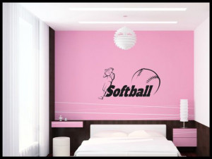 Softball teen girl bedroom Wall art, wall decal, wall quote, vinyl ...