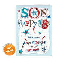 Happy 18th Birthday Son Personalised card - happy 18th