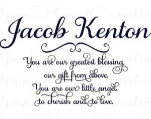 Baby Nursery Wall Decal Name - You Are Our Greatest Blessing A Gift ...