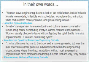sampling of responses from a survey of women who earned engineering ...