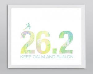 Marathon 26.2 Keep Calm and Run On Print - White Typographic ...