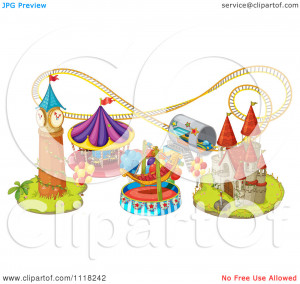 Vector Clipart Of Amusement Park Rides And A Roller Coaster - Royalty ...