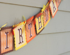 Pumpkin Fall Theme Happy Birthday Banner in Orange and Brown.