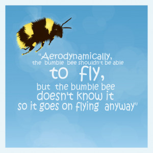 Bumble Bee Flying Quote Aerodynamically the bumblebee