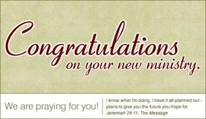 Congratulations - New Ministry - Ecard