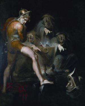 Macbeth consultando la visión de la cabeza de la armadura