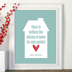 ... Quote Modern Typography Print in Aqua with Red Heart Housewarming