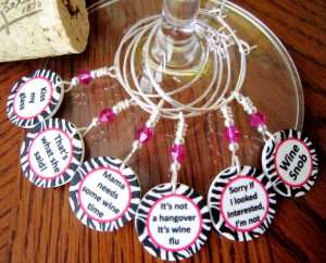 ... Out - Bachelorette Party Wine Glass Charms Funny Sayings - Set of Six