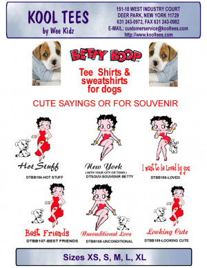 BETTY BOOP TEE SHIRTS FOR DOGS