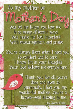 To my mother on mothers day…
