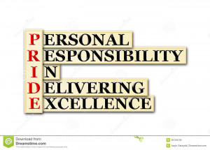 ... PRIDE acronym - personal responsibility in delivering excellence