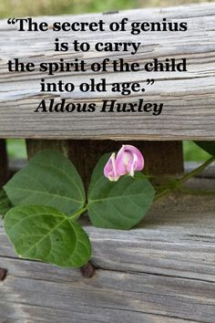 spirit of the child into old age. -- Aldous Huxley -- Explore quotes ...
