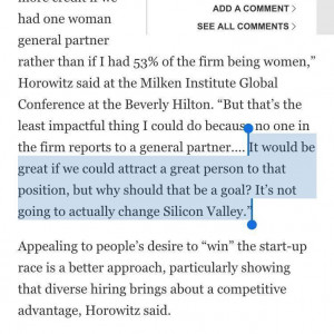... [woman] to that position [of general partner at a16z]. ~Ben Horowitz