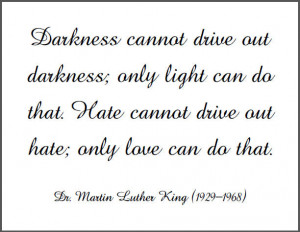 Darkness cannot drive out darkness; only light can do that. Hate ...
