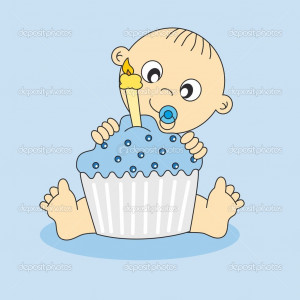 Baby boy with a birthday cake - Stock Illustration