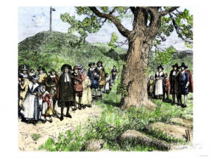 ... Arriving in Boston, Massachusetts Bay Colony, 1630s Giclee Print