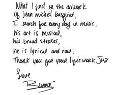 quote from Beyonce on how his work influences her. More