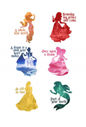 Disney Princesses Silhouettes by MargaHG
