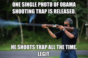... photo of Obama shooting trap is released. He shoots trap all