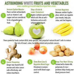 Health benefits of white fruits & vegetables