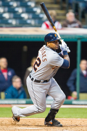 Yoenis Cespedes Yoenis Cespedes 52 of the Detroit Tigers hits an RBI