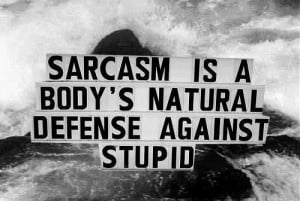Sarcasm Is A Body's Natural Defense Against Stupid ""