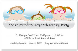 kids in the pool invitation kids in the pool party invitation features ...