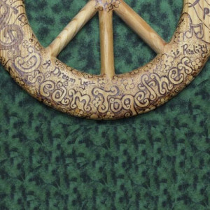 John Lennon Peace Quotes-Wood Burned Peace Sign-Song Lyrics