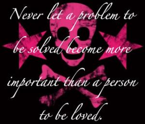 pink hearts and skulls